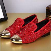 Wholesale 2 Colors Fashion Dandelion Spikes Rhinestone Flat Black Suede Leather Rivets Fashion Mens Loafers Dress Shoes Men Women Slip On Casual Shoes