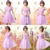 Model Pictures art deco brooches - 6 Style New Cheap Short Homecoming Dresses Plus Size Bridesmaid Dress Purple Double shoulder Prom Gowns Married Dress Under