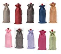 Wholesale 16 cm Linen Drawstring wine red Bags wine bottle packaging jute red wine pouches custom logo