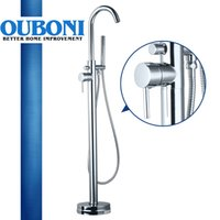 Wholesale Luxury in Wotkmanship Bathroom Faucet Chrome Polishe Single Handle Hot Cold Water Mixer Floor Mounted Distinguished Shower Faucet