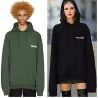 Wholesale Oversize drop shoulder sleeve quot Polizei quot Letters Print Loose Men Hoodies super Long sleeve Cotton Hooded Black Green Size M XL