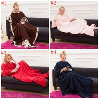 Winter beds with tv - Adult Sleeve Blanket With Pocket Snuggie Fleece Blankets Winter Lazy TV Blanket Sofa Couch Blanket Soft Bedding Bathing Towels Robes OOA1069