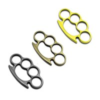Wholesale 10PCS Colors Thin Steel Brass knuckle dusters Self Defense Personal Security Women s and Men s self defense Pendant DHL Free