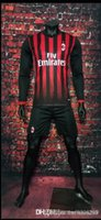 athletic windbreaker - 2017 Benwon AC Milan home long sleeve soccer uniform thai quality football kits adult athletic sports set men outdoor soccer track