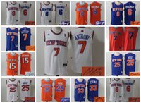 aa s - AA Basketball New York Signature Signed Jersey Carmelo Anthony Derrick Rose Kristaps Porzingis Ewing Knicks Retro Throwback