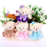 baby gift bouquets - For Christmas Gift diamonds baby girls plush toys flower bouquets material accessory mini model cute bow teddy bears