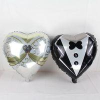 Aluminium Coating balloon wedding dress - 50pcs inch heart wedding dress balloons bride groom helium foil globos love ballon marriage wedding party supplies air baloes