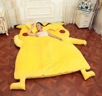 al por mayor cojín de adultos-Pikachu Diseño Sofá Grande Picachu Dedpika Cama Pikachu Saco De Dormir Totoro Cama Cute Gigante Rilakkuma Cama De Cojín Adulto Niños Regalo De Navidad F156