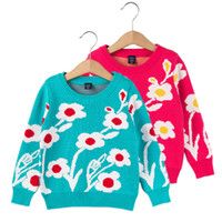 Wholesale 2017 New Spring Autumn Kids Girls Sweater Long Sleeve T Flower Decoration toddler Girls Knitwear Children Clothing for baby