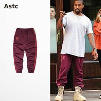 Wholesale Kanye Red Casual Pants West Coast Pablo Kanye Season4 Men And Women Jogging Pants Calabasas Print High Quality Pants