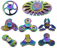 Big Kids Multicolor Metal 2017 Rainbow Fidget Spinner Factory Direct Sales Colorful EDC Gyro Toys Hand Spinner Fidget Aluminum Fidget HandSpinner With retail Package