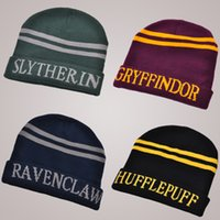 beach college - Hufflepuff Ravenclaw Gryffindor Harry Potter Hat Harry Potter Cosplay College Hats Slytherin Beanie Skull knit Cap Free DHL XL Q03