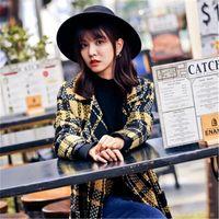 Wholesale New Winter style women Ms yellow grid trench coat fashion warm winter long plaid wool coat