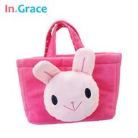 Wholesale In Grace unique rabbit toy bags baby girl cute hand bag pink soft polka dot bags plush bags high quality
