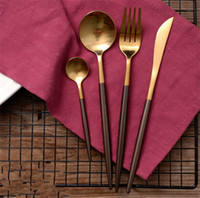 Wholesale Hot sale luxury gold plated head black stainless steel knife and fork set for Portugal style knife fork spoon for Dinnerware Sets set