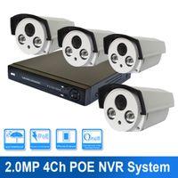 al por mayor circuito cerrado de televisión bala poder-4ch al aire libre HD 1080P 2MP POE Power IR Array Leds bullet cámara IP POE NVR Kit Sistema de CCTV