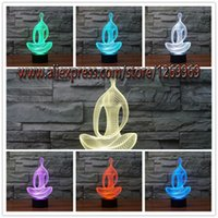 Wholesale Creative Acrylic Yoga Meditation D Illusion Led Night Light Color Changing Gradient Atmosphere Lamps Christmas Friend Kids Birthday Gift
