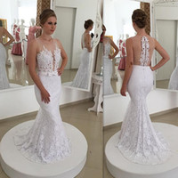 Wholesale Mermaid Lace Wedding Dresses Country Style Sexy Sheer Beaded Bridal Gowns Handmade Robe De Mariee Sirene