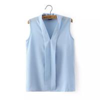 Wholesale Blusas Femininas New Fashion Women s Colourful V Neck Summer Chiffon Blouses Cute Sleeveless Shirts Casual Slim Brand Tops