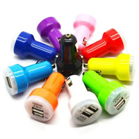 Wholesale Dual USB Car Charger Universal Trumpet buglet mini Universal Adapter passthrough for iPhone Plus S S Samsung S7 edge S6 Note