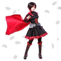 battle dress uniforms - Ruby Rose Cosplay RWBY Red Dress Cloak Battle Uniform Hollowen Karneval Party Supply Uo Costume