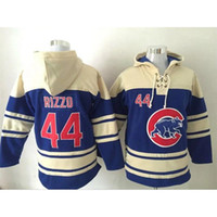 Wholesale Chicago Cubs Anthony Rizzo Lace Up Pullover Hooded Sweatshirt Cheap Baseball Hoodies Blue Men s Sweater Best Quality Baseball Jerseys