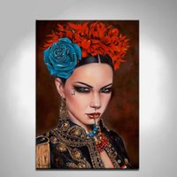 One Panel Oil Painting Classical Pure Handpainted Portrait Art Oil Painting Blue Rose Sexy Girl,For Home Wall Decor On High Quality Canvas in customized sizes Free Shipping
