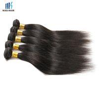 5 PC venden al por mayor el negro natural natural de la extensión del pelo humano recto de Remy 2 4 paquetes de la armadura sin procesar india peruana brasileña del pelo de la Virgen de Brown