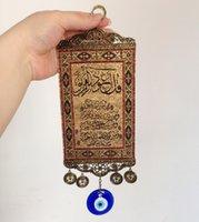 Malos encantos ojo azul España-Al por mayor- Islam Quran Decoración para el hogar Amuleto del protector Ornamento azul turco del ojo malvado Tapetes de la pared del encanto de cristal Árabe Medio Oriente Adorno