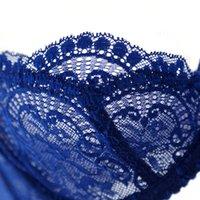 al por mayor la ropa interior transparente niña-Moda Sexy Lace Cómodo sujetador ultra-delgado Transparente más tamaño azul Young Girl sujetador conjunto de ropa interior