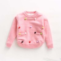Wholesale New Arrival2016Spring Autumn Kids Girls Boys Soft Sweater Cashmere Blends Solid Colorful Balls Stitchwork With Pockets Cute PulloverQ0493