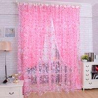 Wholesale Floral Door Bedroom Livingroom Windows Scarf Sheer Floral Curtains Voile Valances Cortinas Rideaux Pour Le Salon
