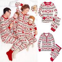 Wholesale 2017 Xmas Kids Adult Family Matching Christmas Deer Striped Pajamas Sleepwear Nightwear Pyjamas bedgown sleepcoat nighty Piece Sets