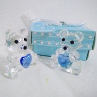 K9 Crystal   Crystal Teddy Bear with Pink and Blue Box for Wedding Favors Baby Shower Gift Souvenir+DHL Free Shipping
