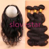 Wholesale Brazilian Hair Weave Bundles With Lace Frontal Band Closure Brazilian Virgin Hair With Full Frontal Band Closure