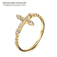 Wholesale Neoglory Rhinestone Rose Gold Plated Charm Cross Midi Rings for Women Fashion Jewelry New Party Gift RI2