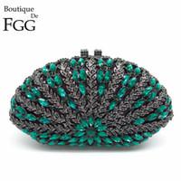 beryl crystals - Women Black Glitter Beryl Green Crystal Diamond Evening Box Bag Clutches Purse Metal Hollow Clutch Ladies Wedding Party Handbags
