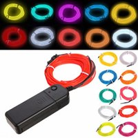 Wholesale 10 Colors m Flexible Neon Light EL Wire Christmas Lighting Neon Rope Strobe Glowing Light Flashing for Car Bicycle Party Battery Case