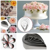 Wholesale 7pcs set Stainless Baking Sugarcraft Fondant Cake Mould Water Droplet Rose Petal Cookie Cake Cutters Baking Mould KKA1165