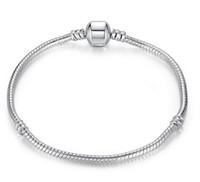 barrel plating - 3mm cm Silver Plated Bracelet Snake Chain with Barrel Clasp Fit European Beads Pandora Bracelets DIY