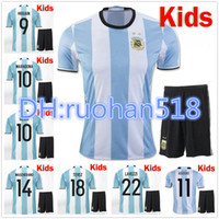 argentina home kit - 2016 New Argentina Kids kit soccer Jersey MESSI home DI MARIA AGUERO Argentina Children football shirt jersey
