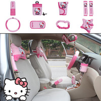 Pink automotive upholstery - 10pcs unit Auto Accessories Hello Kitty pink Car Upholstery Steering wheel cover pillow Cartoon car covers set Universal Automotive interior