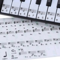 sticker piano achat en gros de-Livraison DHL Transparent Piano Keyboard Sticker 49/61 Key Electronic Keyboard 88 Key Piano Stave Note Sticker pour touches blanches
