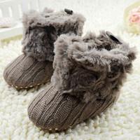 Wholesale 2016 Children Baby Newborn Winter Crochet Knit Fleece Boots Toddler Girl Wool Snow Shoes M