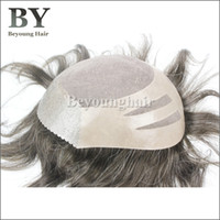 Wholesale Beyounghair Mens Toupee Fine Mono Base With PU Coating Non surgical Hair Replac Hair Replacement Stock Human Hairpiece