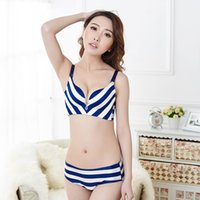 Wholesale Sexy Navy Lingerie - High Quality Top brand one-piece wireless seamless Striped Navy Blue sexy Women's Bra Sets Super Boost Push Up plus lingerie set