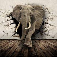 Wholesale D Lifelike Animal Mural Wallpaper Customized Rhino Lion Elephants Non Woven paper Wall Mural New Photo Wallpaper Hoom Decor