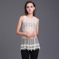Wholesale 2016 Fashion Women Blouse Beige Color Lace Blousa Shirt Famele Summer Sleeveless Tops See Though Girl Beachwork