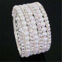 Wholesale Hot Sale Rows Crystal Cubic Zirconia Pearl Bracelet Simulated Rhinestone CZ Diamond Bracelet For Wedding