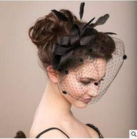 bridal hair ornament - Married bridal veil hair bowknot hat headdress flower white gauze photo photo feather covered face head ornaments